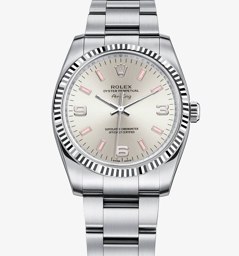 Replica Rolex Air-King Watch: White Rolesor - combination of 904L steel and 18 ct white gold – M114234-0010 [e6e9]